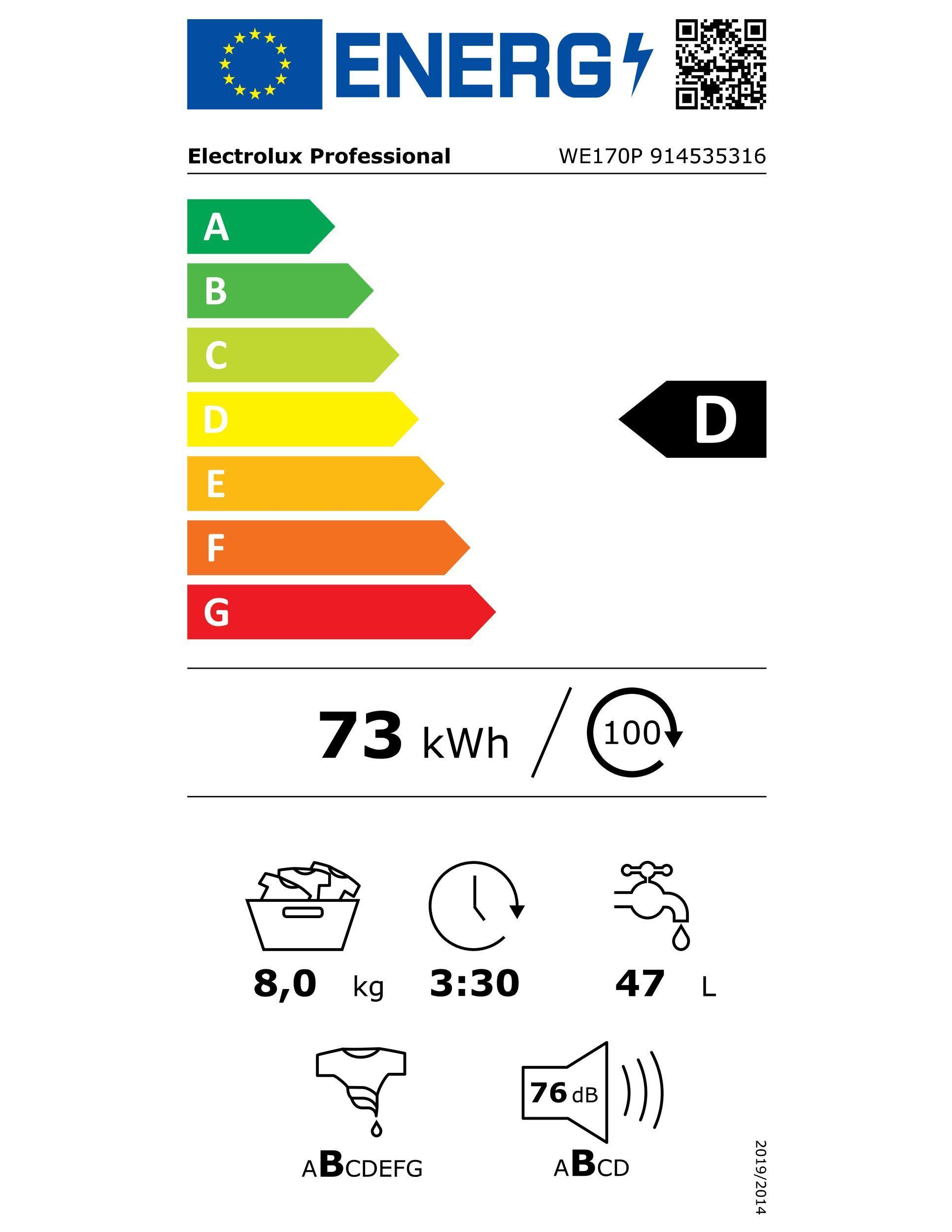 ELECTROLUX WE170P 50Hz Gewerbe-Waschaut.