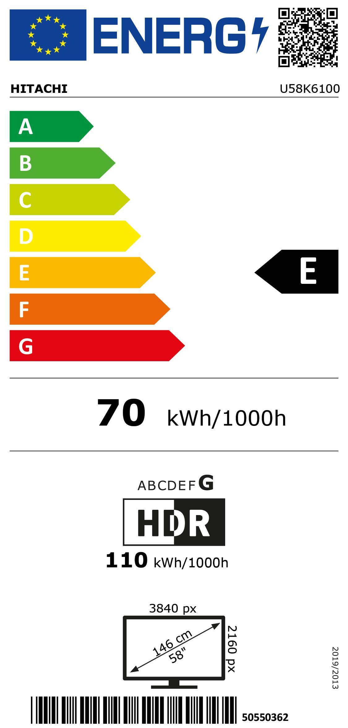 Hitachi U58K6100 sw LED-TV