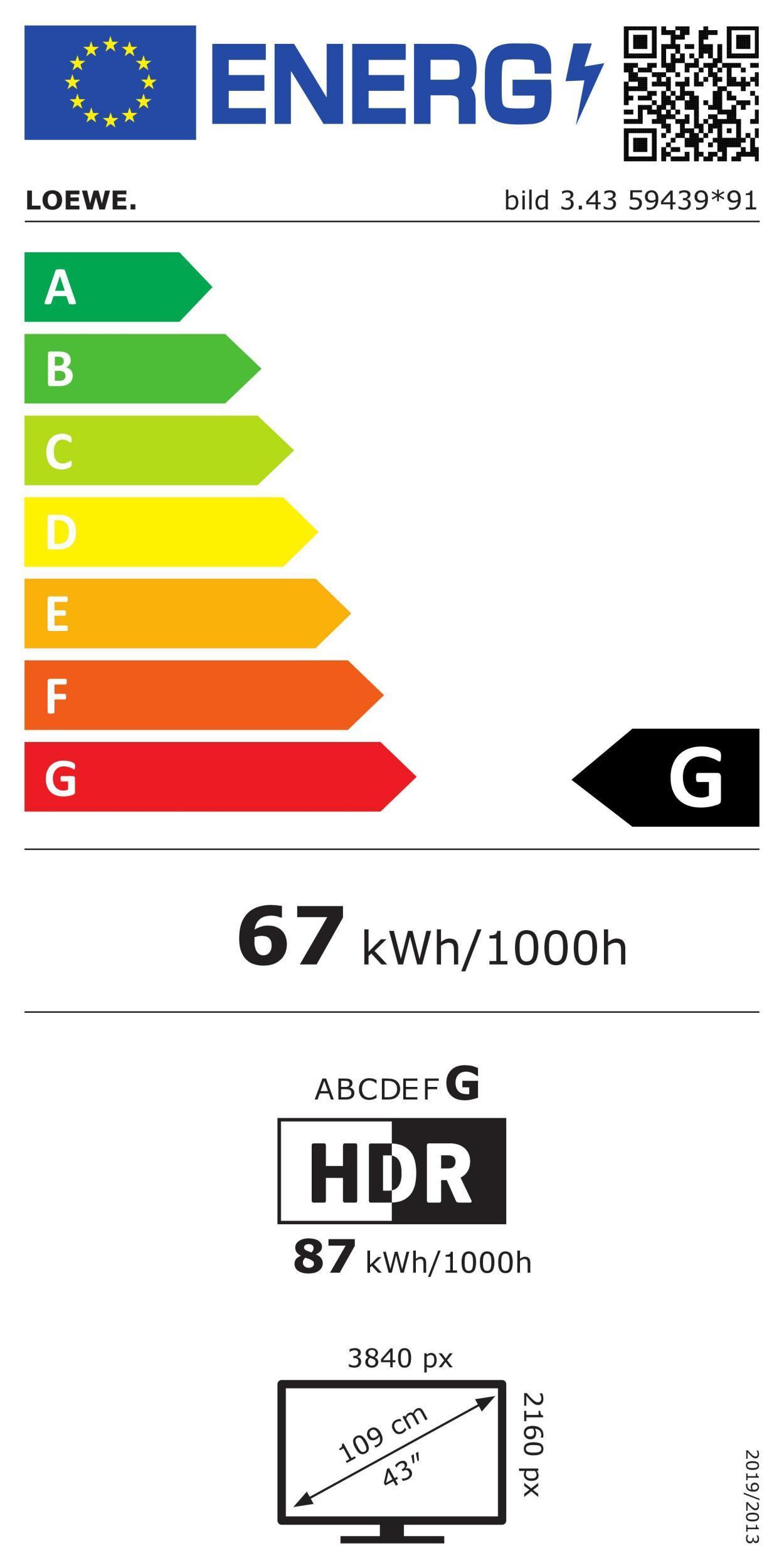 Loewe bild 3.43 basalt grey LED-TV
